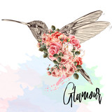 Beautiful fashion vector illustration with pink hummingbird and roses. Glamour - 192580941