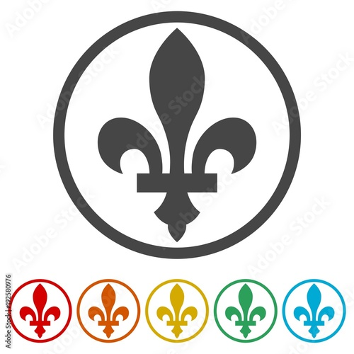 Fleur de lis icon, Fleur-de-lis sign, 6 Colors Included