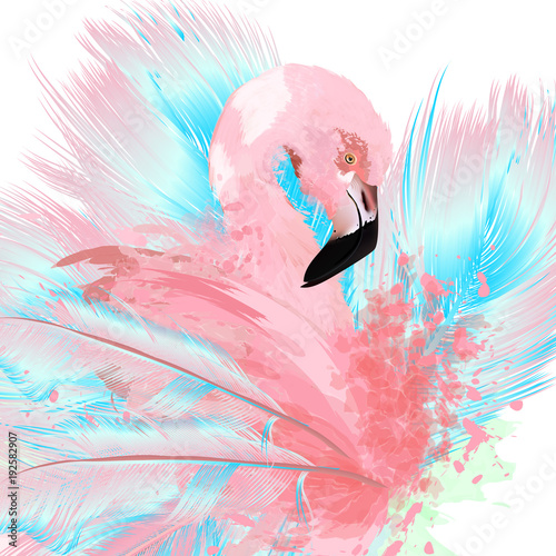 Beautiful vector illustration with drawn pink flamingo and blue feathers - 192582907