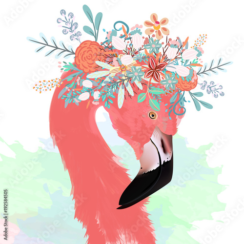 Fashion vector illustration with drawn pink flamingo