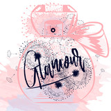 Fashion vector illustration with pink spots, dandelions and bottle of perfume - 192584749