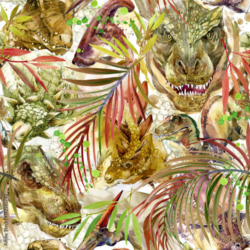 Cotton fabric Dinosaurs seamless pattern. hand-drawn watercolor illustration