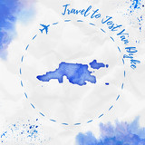 Jost Van Dyke watercolor island map in blue colors. Travel to Jost Van Dyke poster with airplane trace and handpainted watercolor Jost Van Dyke map on crumpled paper. Vector illustration. - 192588564
