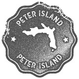 Peter Island map vintage stamp. Retro style handmade label, badge or element for travel souvenirs. Grey rubber stamp with island map silhouette. Vector illustration. - 192589599