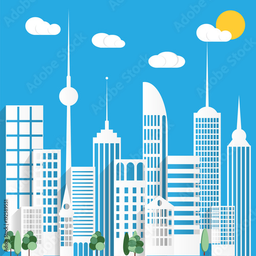 Foto op Aluminium Blauw Paper urban city un a blue background. Vector illustration