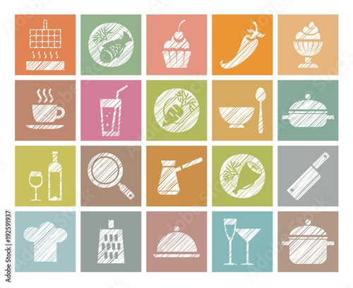 Wall mural Cooking, icons, colored, pencil hatching, vector. Products and kitchen utensils. Hatching with a white pencil on the color field. Imitation. Square vector clip art.