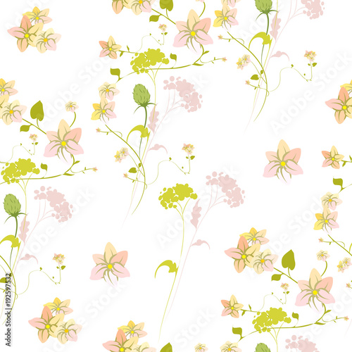 beautiful green  flowers , on a white, pattern - 192597532