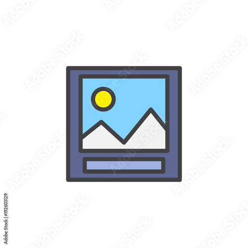 Aluminium Wit Landscape photo filled outline icon, line vector sign, linear colorful pictogram isolated on white. Picture symbol, logo illustration. Pixel perfect vector graphics