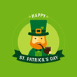 Saint Patrick's Day - Flat Character Greeting Card - Cute Leprechaun with Hat, Bow Tie, Smoking Pipe and Clover on a Green Background - 192603563
