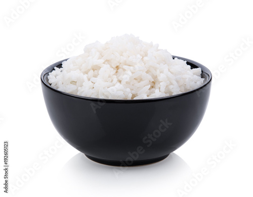 rice in black bowl on white background - 192605123