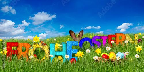 Leinwandbild Motiv frohe ostern hintergrund gras osterwiese mit holz buchstaben ostereier und osterhase vor blauem himmel