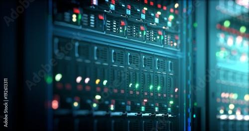 Leinwanddruck Bild Server in datacenter. Cloud computing data storage 3d rendering