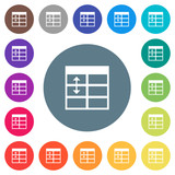 Spreadsheet adjust table row height flat white icons on round color backgrounds - 192613728