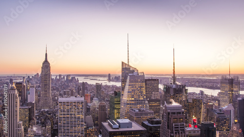 Foto Murales Aerial view of New York city at sunset.
