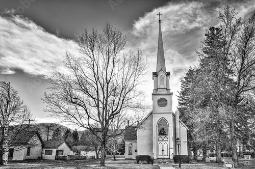 Horizontal Black and White Image of an old Episcopal church in Nothern Nevada