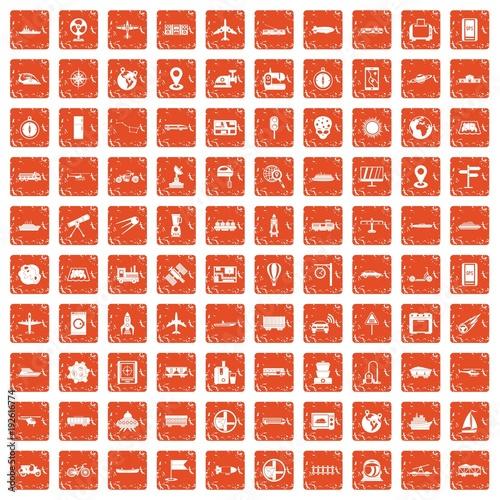 100 technology icons set grunge orange