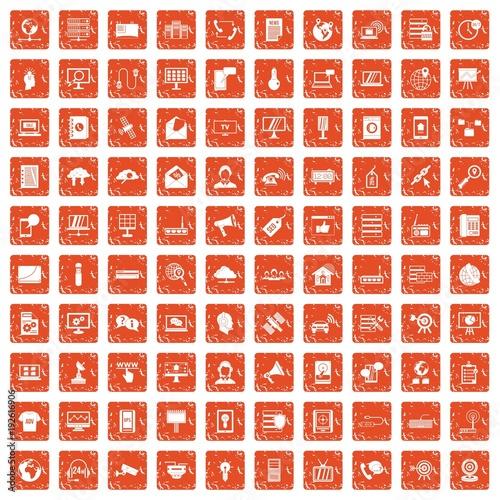 100 telecommunication icons set grunge orange