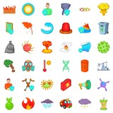 Quiet place icons set, cartoon style - 192618506