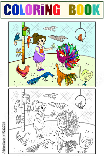 Aluminium Zoo Childrens cartoon color the contact birds zoo. Bird picture book. Ornithology for the girl. Coloring, black and white