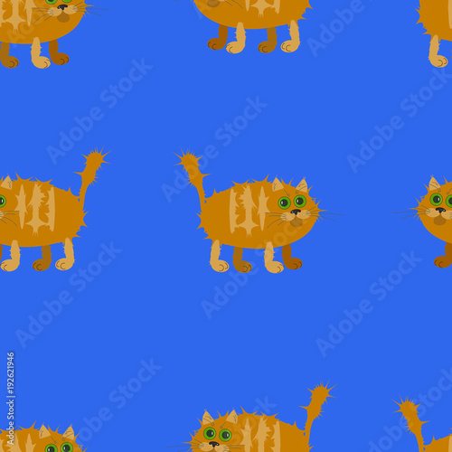 Seamless pattern of red cats on a blue background