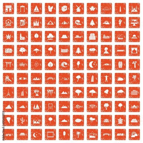 100 view icons set grunge orange