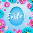 Vector Illustration of Happy Easter Holiday with Painted Egg and Flower on Clean Background. International Celebration Design with Typography for Greeting Card, Party Invitation or Promo Banner. - 192623507