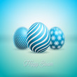 Vector Illustration of Happy Easter Holiday with Painted Egg and Flower on Clean Background. International Celebration Design with Typography for Greeting Card, Party Invitation or Promo Banner. - 192624116