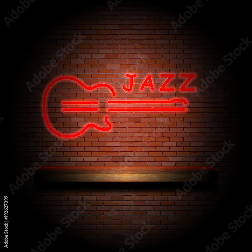 jazz guitar on a brick wall