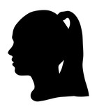 Black silhouette of a girl's head