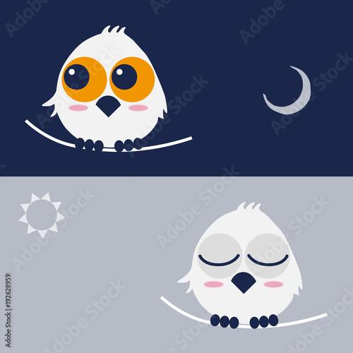 Fotobehang Uilen cartoon フクロウ owl day and night キャラクター イラスト vector