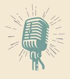 vintage microphone on beig - 192632326