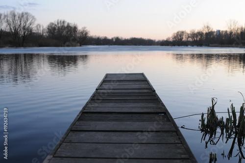 Acrylglas Pier Lake at Sunset
