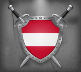 Flag of Austria. The Shield with National Flag. Two Crossed Swords.  Medieval Background - 192636737
