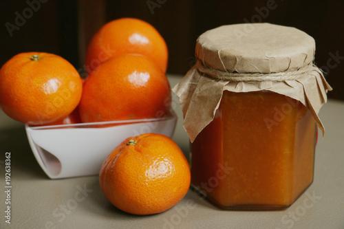 mandarines orange jam in jar