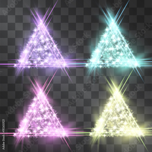 Neon triangle light effect set on transparent background. Festive glow night brilliant signs, modern icon frames for web-sites, logos. Laser pierced glitter clusters, sparkling decorated pieces.