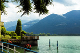 Beautiful embankment overlooking the mountains. Lovere, Lake Iseo, Italy. - 192652188