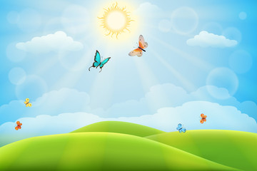 Summer nature background with green meadows, hills and butterflies