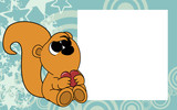 cute baby squirrel valentine picture frame background in vector format very easy to edit  - 192658334
