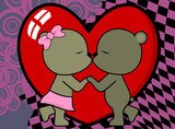 sweet love baby boy and girl kissing teddy bear cartoon valentine background in vector format very easy to edit