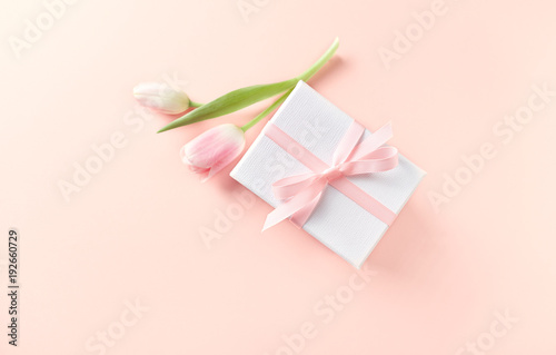 Gift Box with Pink Tulip on Powder Pink Paper Background