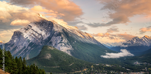 Poster Sunset of Mount Rundle in Banff National Park taken from Norquay