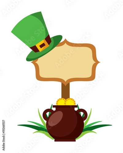 wooden board with pot coins and hat of leprechaun vector illustration
