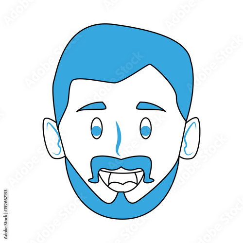 Man smiling face cartoon icon vector illustration graphic design