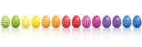 Easter eggs. Lined up with different colors and patterns. Rainbow colored three-dimensional isolated vector illustration on white background. - 192662333