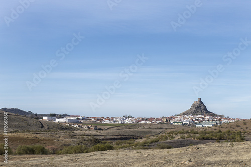 Outcrop rocky hill with Castle, Cordoba, Spain. Situated on the high rocky hill overlooking town of Belmez