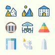 Icons about Construction with school, pyramids, terrace, statue of liberty, washington monument and elevator