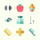 Icons about Beauty with eye pencil, eyelash, comb, band aid, cologne and dumbbell - 192671712
