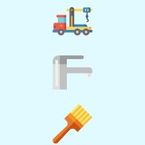 Icons about Real Assets with truck, plumbering, crane and painted - 192672516