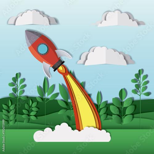 In de dag Pool landscape with rocket launcher craft vector illustration design