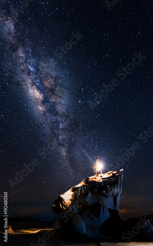 Foto op Aluminium Heelal Bright milky way core and starry night sky at Kudat, sabah Malaysia. image contain soft focus, blur and noise due to long expose and high iso.